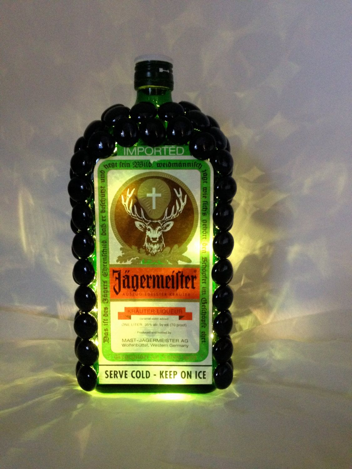 Jagermeister liquor bottle light by sweetbebes on etsy i for Alcohol bottle crafts