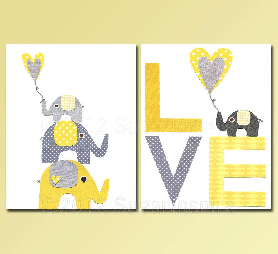 Elephant Nursery, Nursery Art Print Set, Kids Room Decor, Baby ...