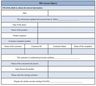 Ms Access Query Form Templates Form Design Customer