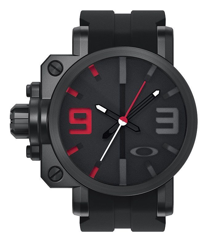 311feb79783 Accessories   Oakley Watches   Gearbox Stealth   Black-Red Dial Watch