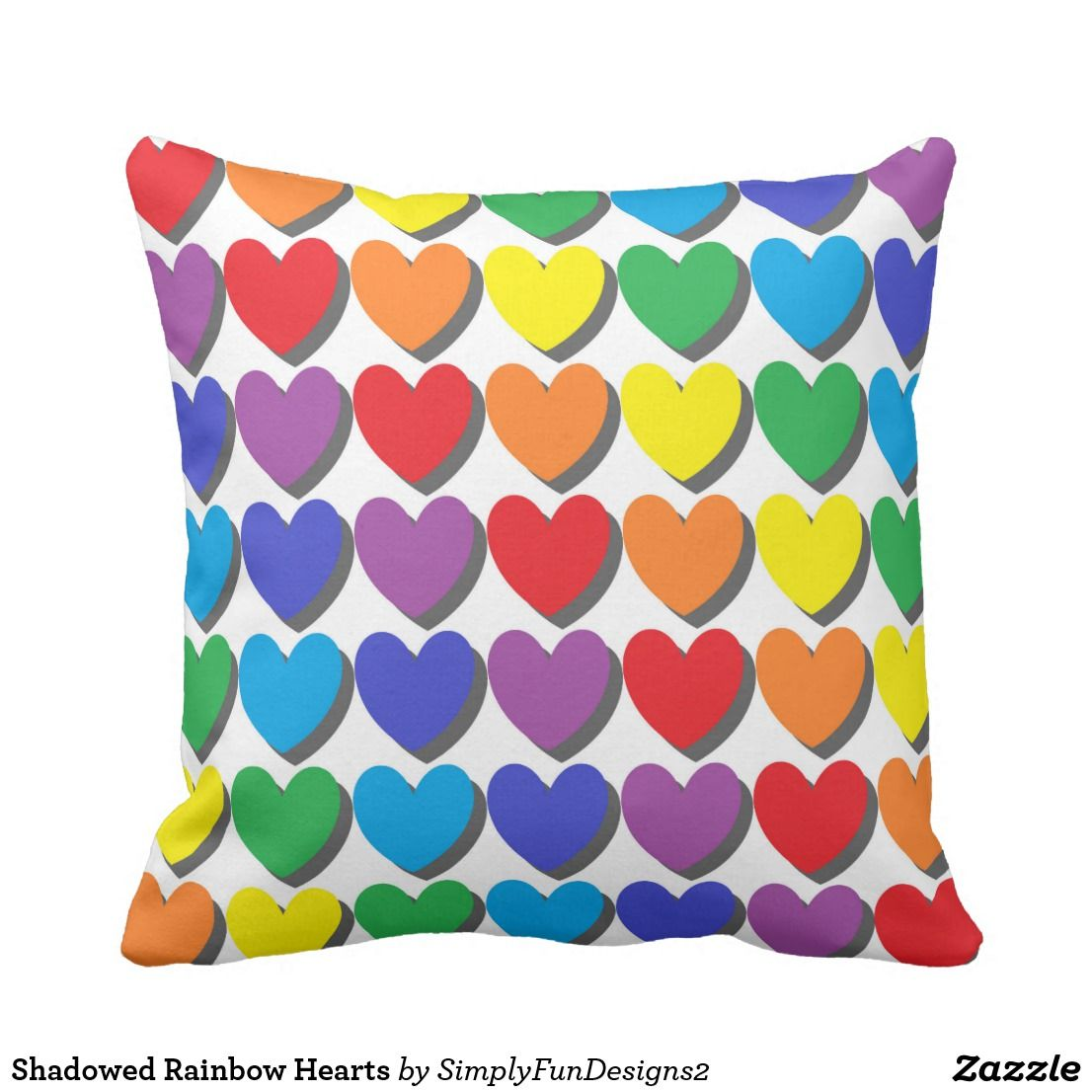 Shadowed Rainbow Hearts Throw Pillow Pillow Throwpillow Decorative Homedecor Interiordesign Throw Pillow Pattern Decorative Throw Pillows Pillows