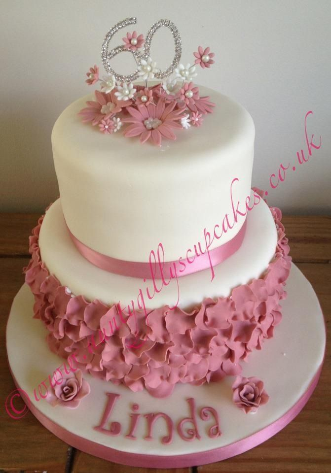 60th two tier birthday cake Vintage pink with individual rose