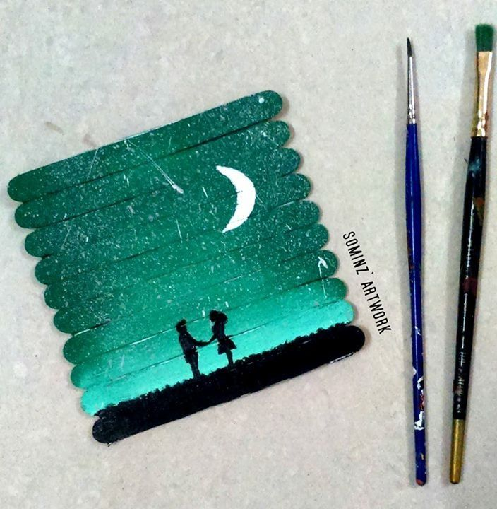 The moonlit night favourites pinterest stick art for Popsicle art projects