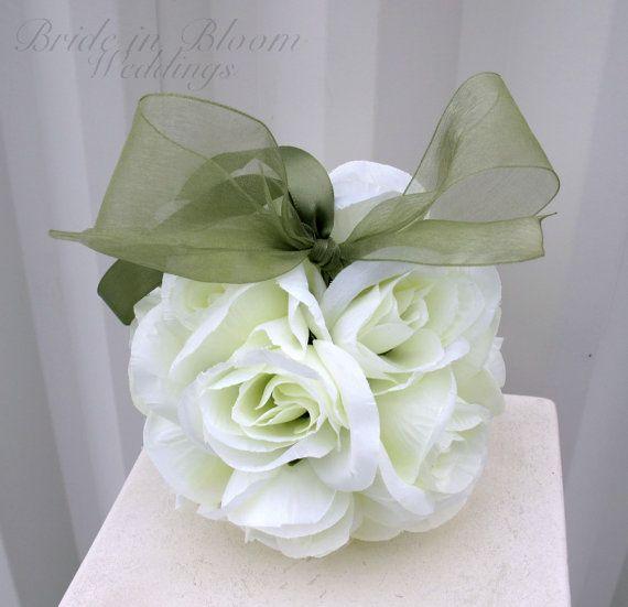 Wedding flower balls flower girl pomander by BrideinBloomWeddings, $18.00