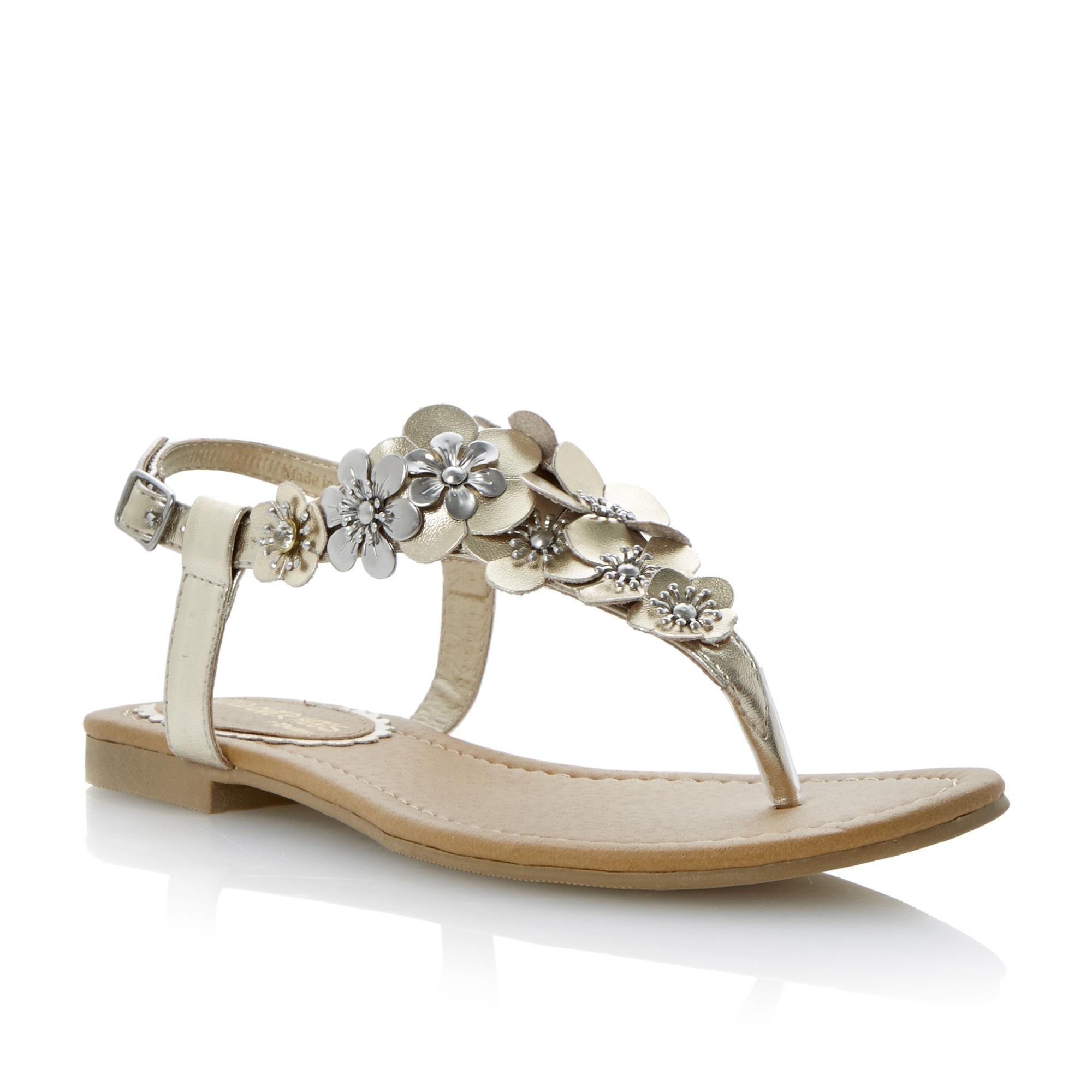 88a2677f313783 Head Over Heels Ladies Metallic HONEYCOMB - Flower Detail Toe Post Sandal