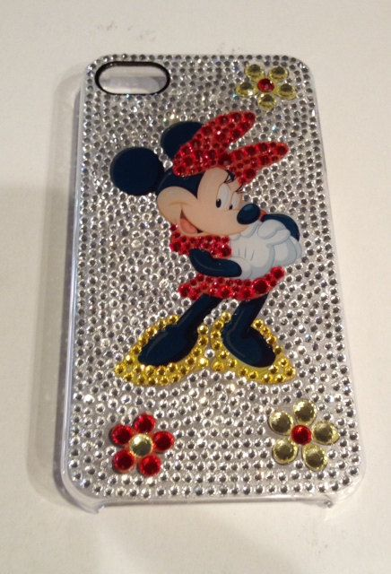 Minnie Mouse iPhone4/4S case covered in Swarovski crystals on Etsy, $150.00