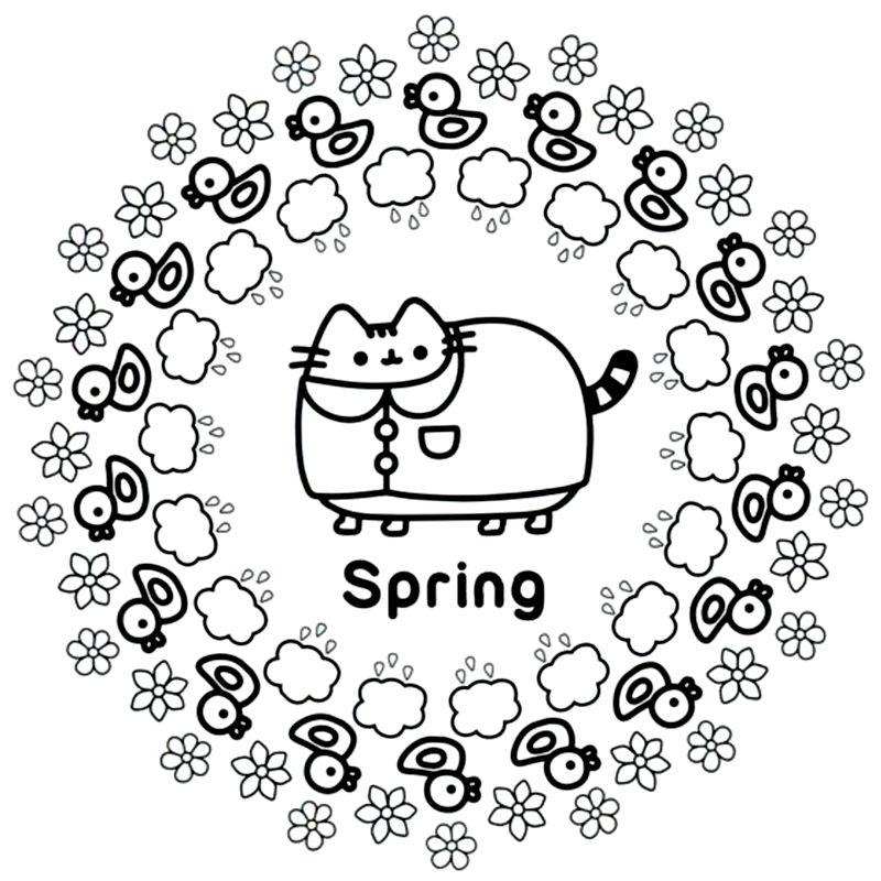 Pusheen Spring Coloring Pages Cat Coloring Book Coloring Pages