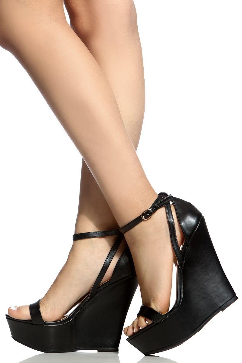 7de8154ecc13 Black Faux Leather Ankle Strap Wedges   Cicihot Wedges Shoes Store Wedge  Shoes