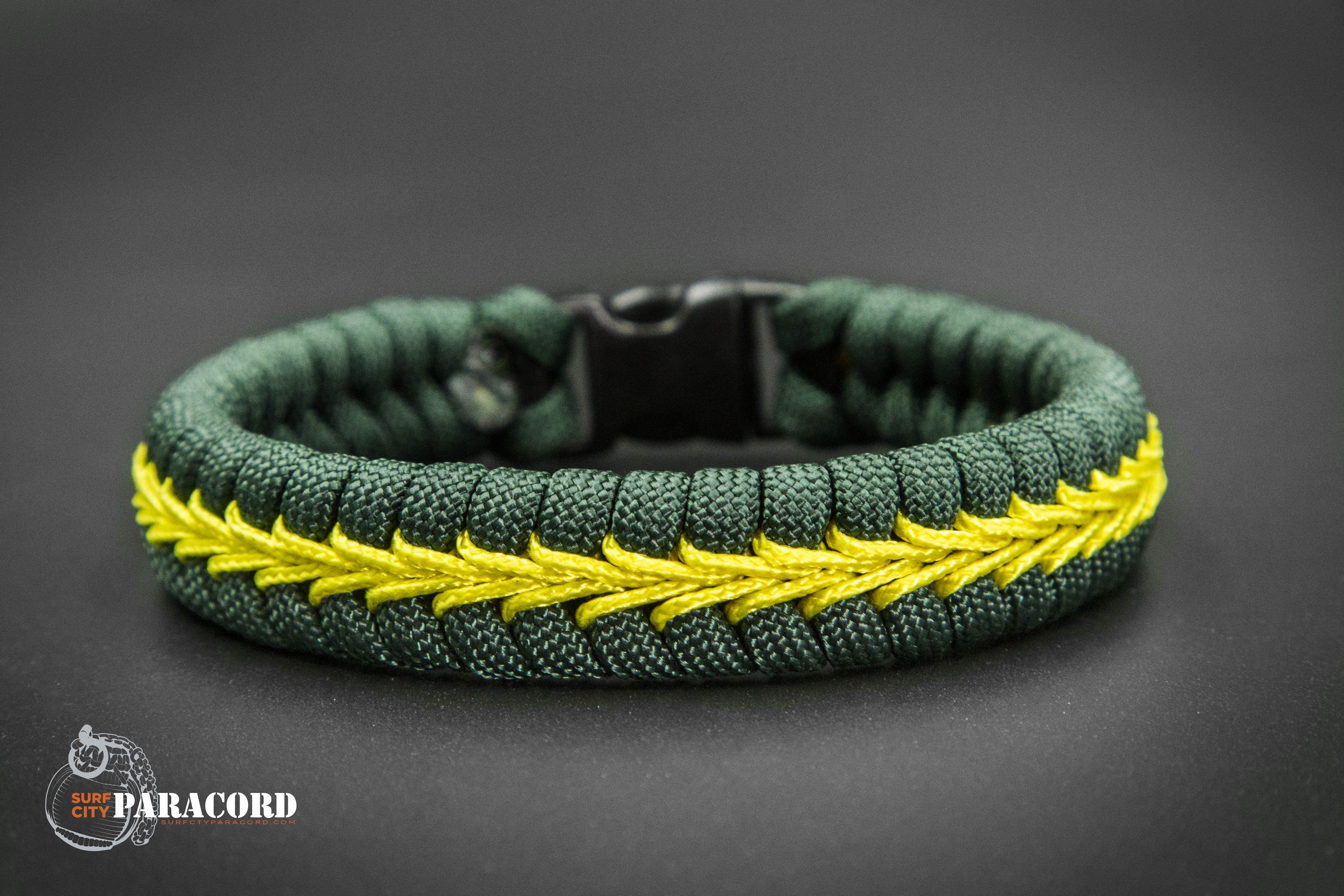 CERT Paracord Fishtail Bracelet Hunter Green with yellow Center Stitch.