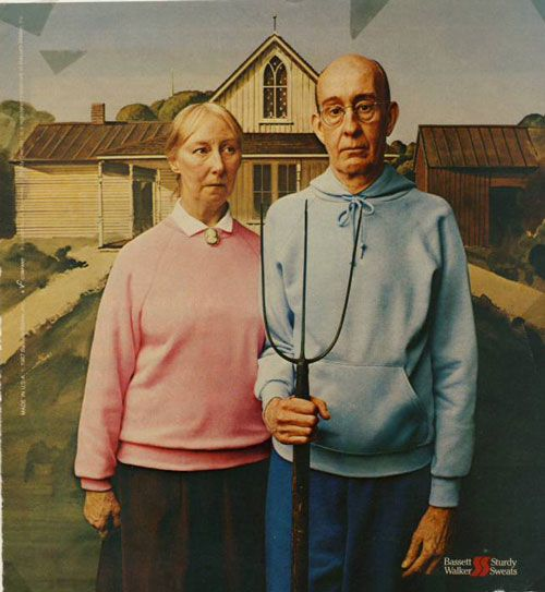 American Gothic As An Advertisement For Bassett Walker Sturdy Sweats