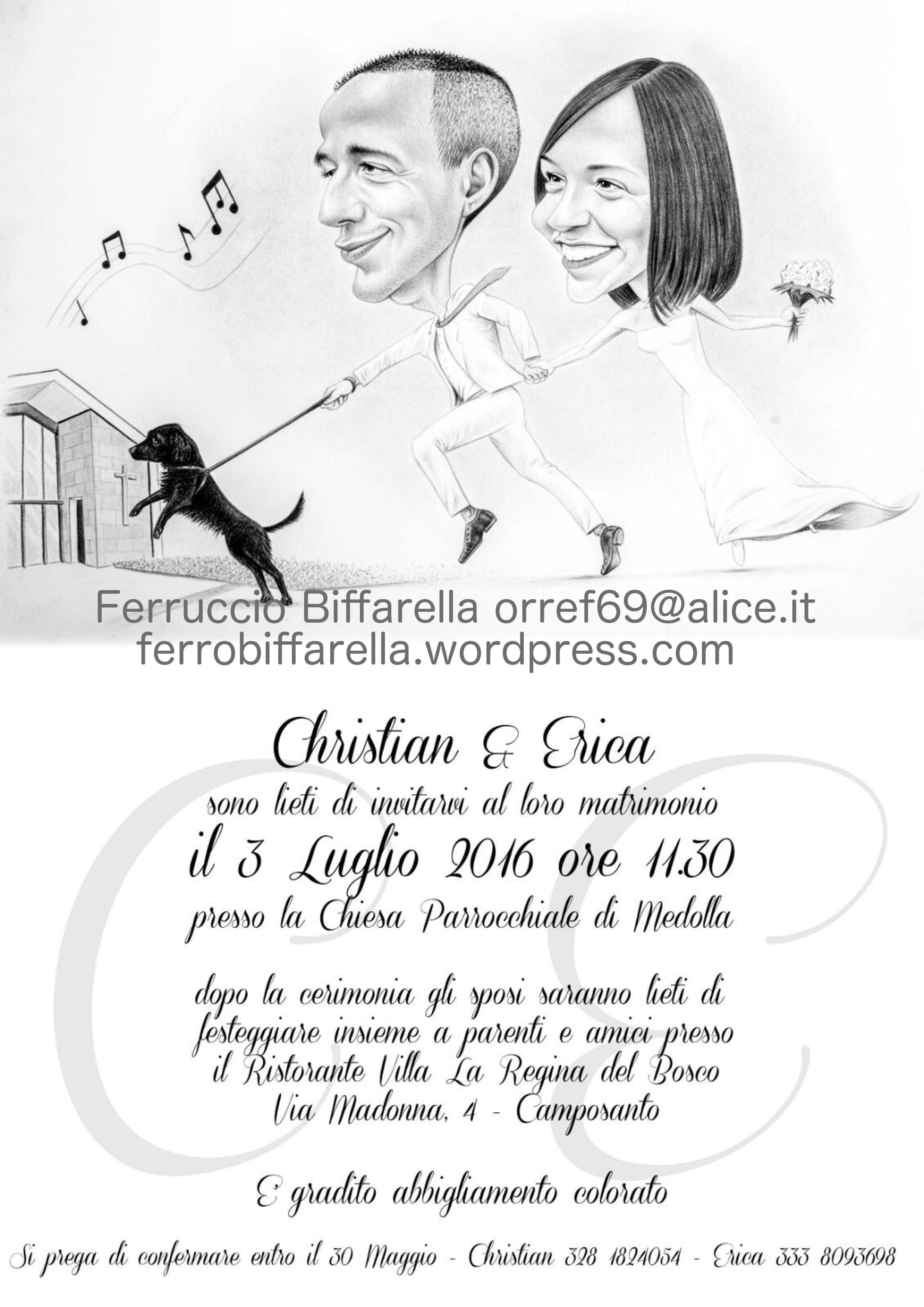 Partecipazioni Matrimonio Caricature.Christian Erica Inviti Nozze Partecipazioni Partecipazioni