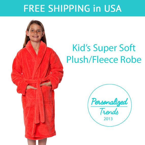 93186d511c Coral Plush Fleece Kid s Robes Monogrammed by PersonalizedTrends ...