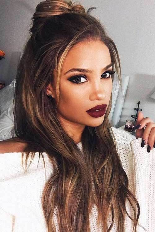 10 Trendy Long Hairstyles 1 Latest Trend Long Half Bun Hairstyle Hair Styles Long Hair Styles Easy Hairstyles For Long Hair