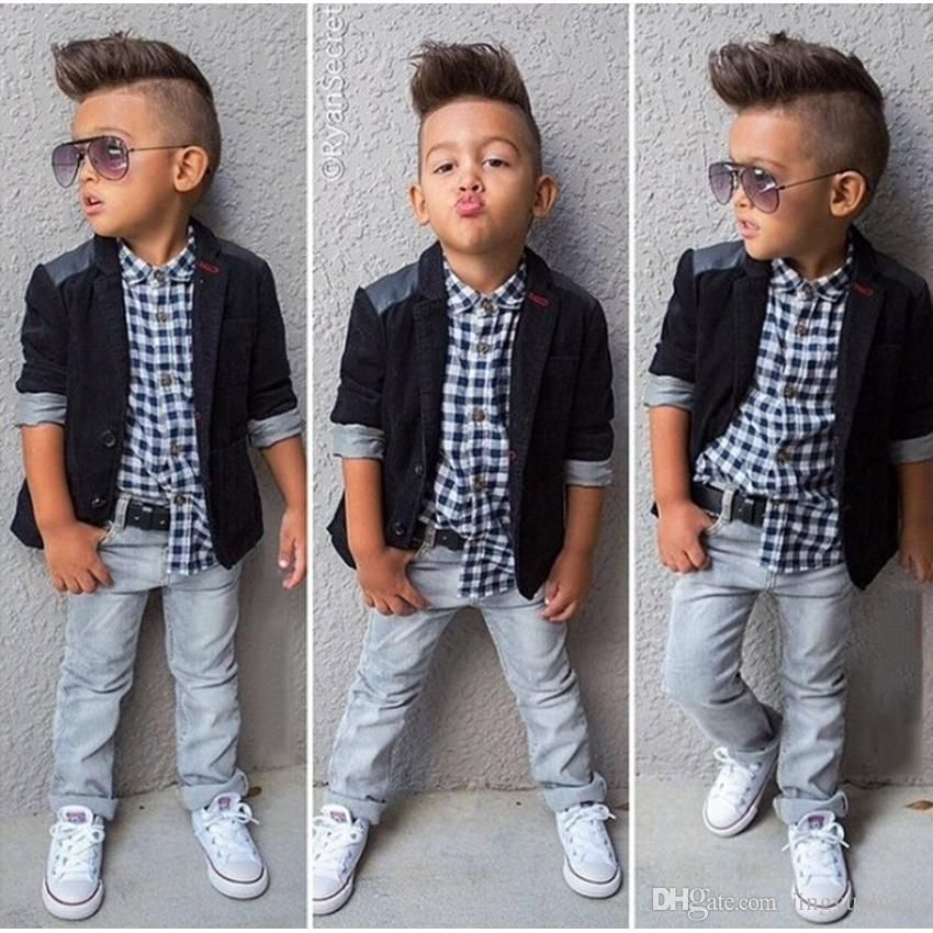 Denim Pants Scarf Gentleman Outfits Set 1-6Y Boys Baby Kids Clothes Shirt