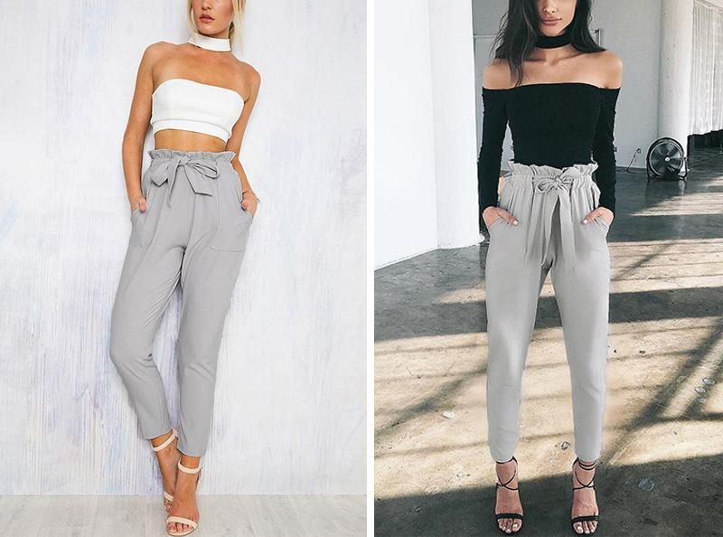 321fd64a5e44 2018 Palazzo Pants Ladies High Waist Casual Harem Pants Women Summer  Trousers Khaki Work Office Formal Pants Female From Visionz, $13.07 |  Dhgate.Com