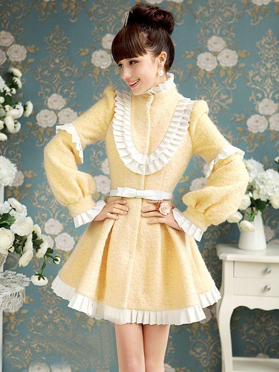 Morpheus Boutique - Yellow Ruffle Collar Long Sleeve Ruffle Pleated Hemline Overcoat