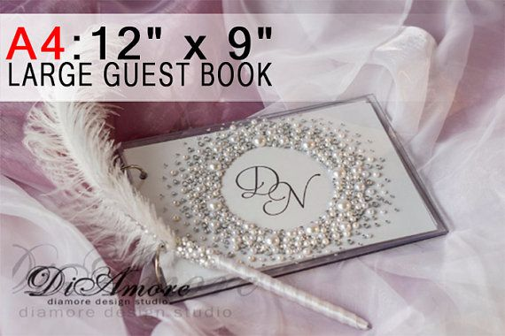 Pearls And Crystals Wedding Guest Book Pen Holder White Pearl Feather Clic Set Pens Personalized