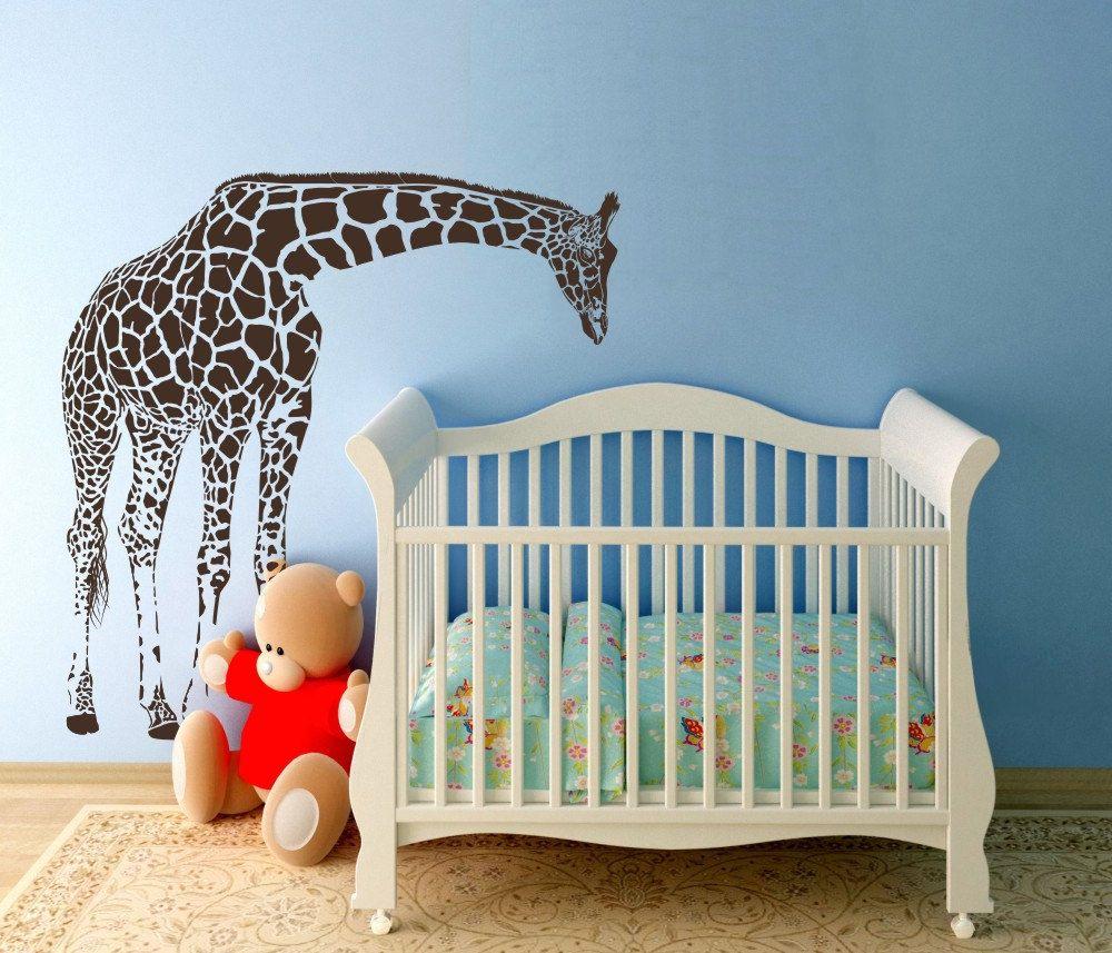 Sale Large Giraffe Baby Nursery Wall Decals By Wallvinyldesigns 89 00 Baby Nursery Wall Decals Baby Nursery Decals Nursery Vinyl