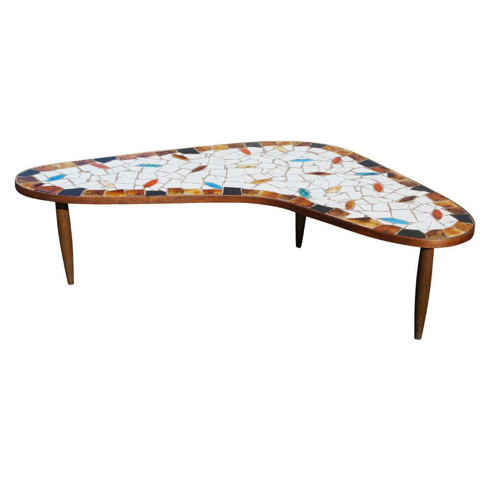 Mid Century Modern Boomerang Wood Tile Coffee Table