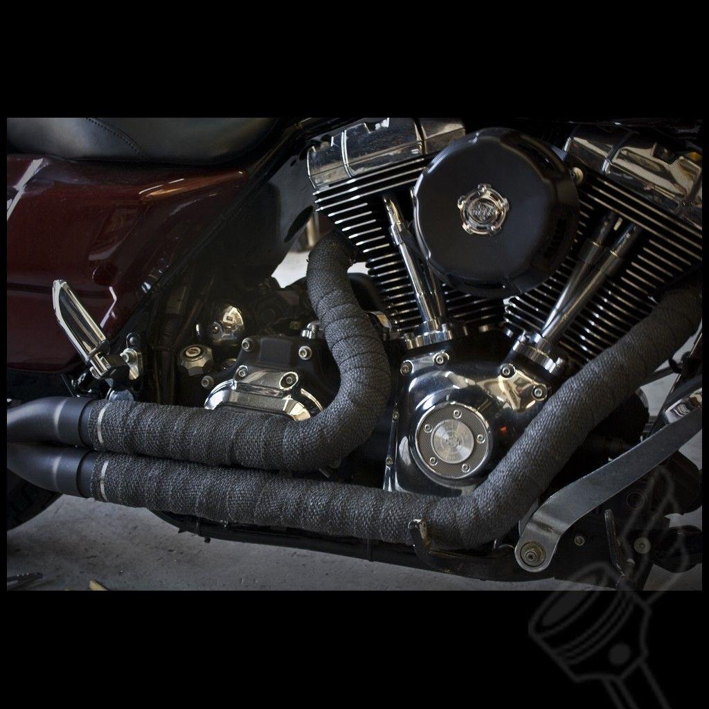 black motorcycle header wrap