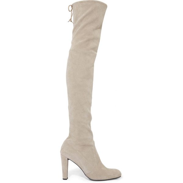 Stuart Weitzman Highland suede over-the-knee boots (3.390 BRL) via Polyvore featuring shoes, boots, grey, boots/booties, stuart weitzman, high heel boots, stuart weitzman boots, over-the-knee high-heel boots, gray suede over the knee boots e grey boots