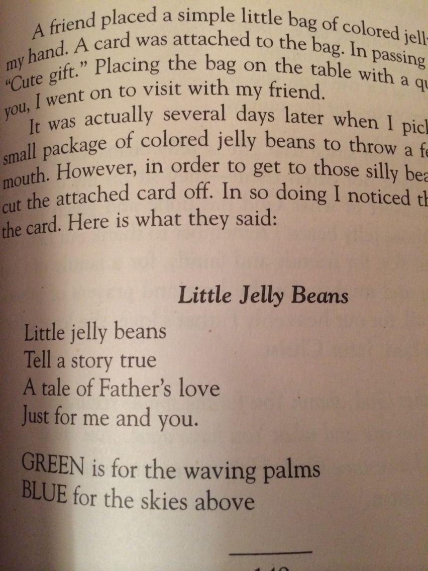 Little Jelly Beans poem from Emilie Barnes, 15 Minutes Alone With