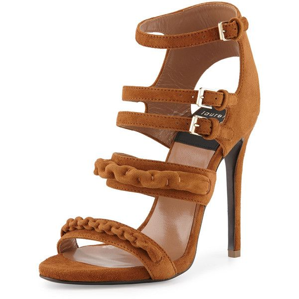 Laurence Dacade Kimy Suede Chain Strappy Sandal (3.565 BRL) ❤ liked on Polyvore featuring shoes, sandals, heels, camel, ankle wrap sandals, suede sandals, suede shoes, ankle strap shoes and high heel shoes