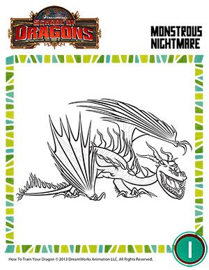 Color Monstrous Nightmare Free Kindergarten Coloring Page How
