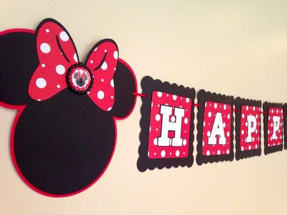 Minnie Mouse Banner With Free Name Hy Birthday Cust