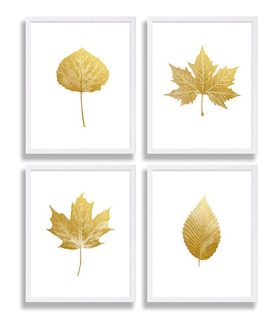 Four Faux Gold Foil Prints Leaf Art Prints Elegant Decor Living Room Art Modern Wall Art Maple