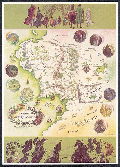 Le Seigneur Des Anneaux Carte : seigneur, anneaux, carte, Middle, Earth., Carte, Terre, Milieu,, Tolkien,, Tolkien