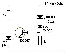 12v Or 24v This Circuit Turns On A Red Led When 12v Is Present Or The Green Led When 24v Is Pre Led Projects Electronics Mini Projects Electronics Projects Diy