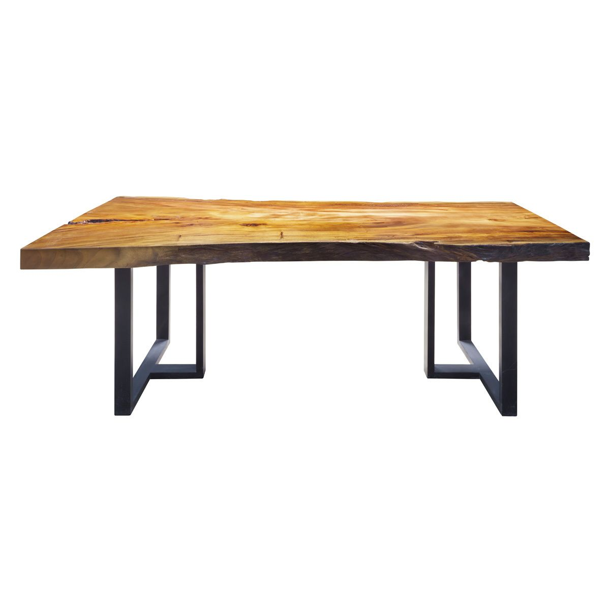 Live Edge Dining Table Made From Acacia Wood On Iron Legs Width