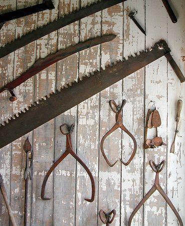 e2e5fe4812b0 Rusted old farm tools make great wall decor inside or outside ...