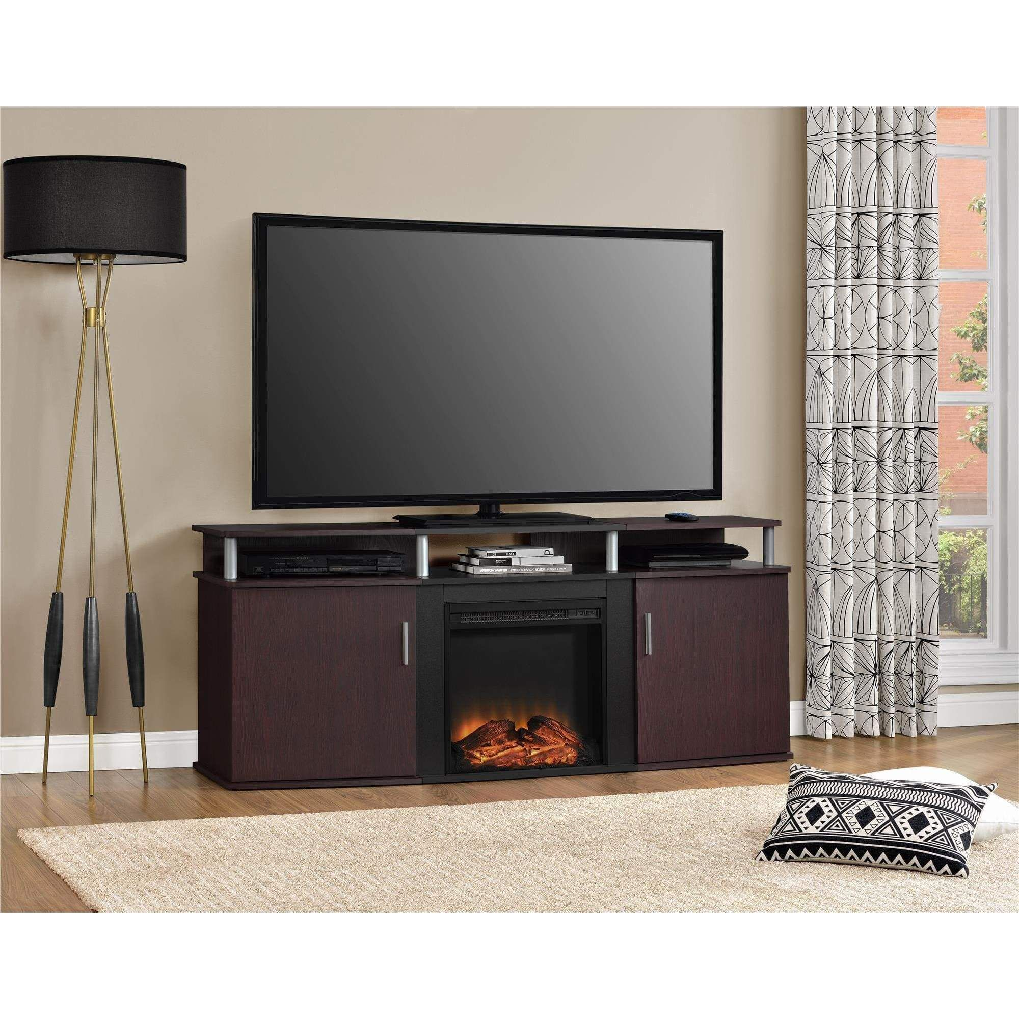 ameriwood home carson electric fireplace 70 inch cherry tv console
