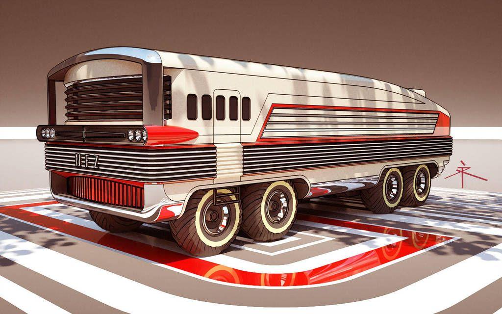 300410 monster bus w20 by 600v Retro futuristic, City
