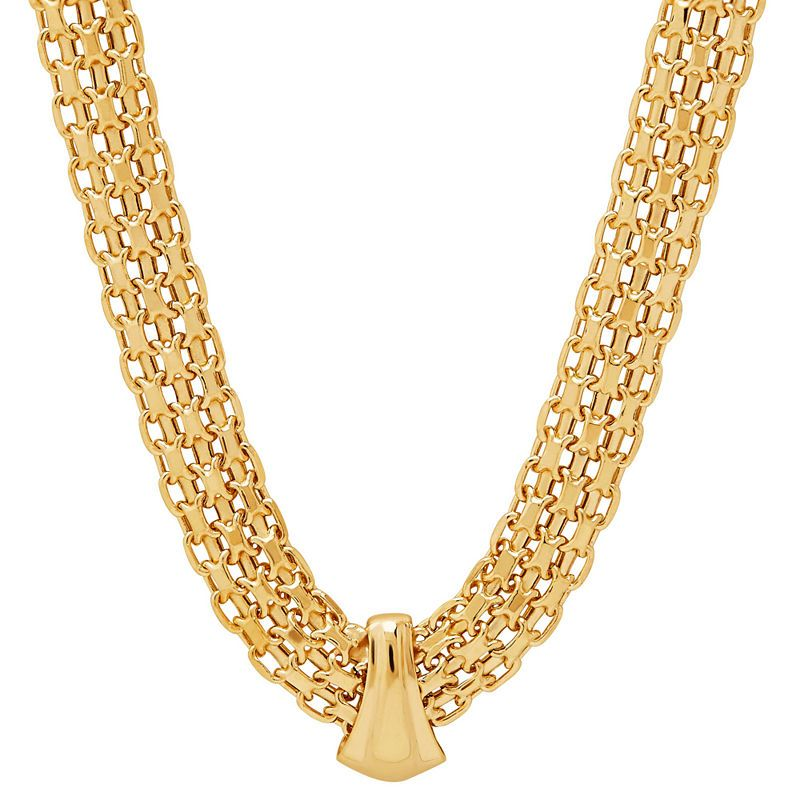 Made In Italy Womens 17 Inch 14k Gold Link Necklace Gold