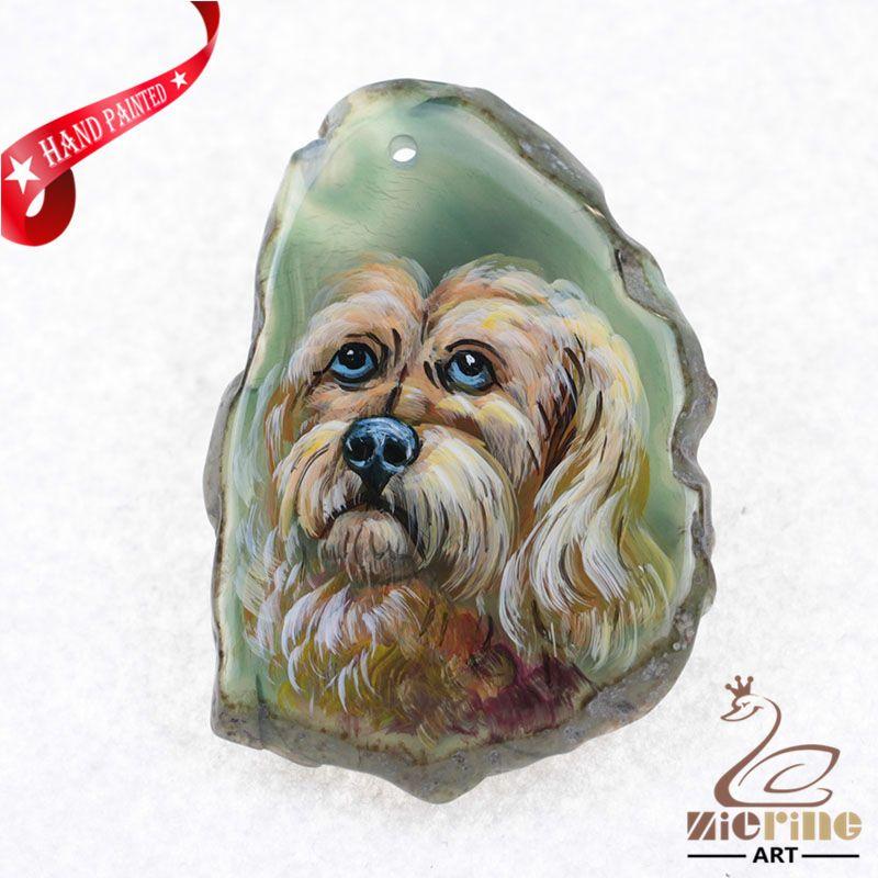 HAND PAINTED DOG GEMSTONE HANDMADE ART PENDANT BEAD ZL80 21884 #ZL #PENDANT