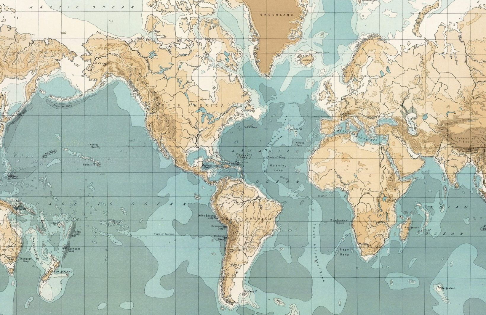 Bathyorographical Vintage Map Mural Map wallpaper, World
