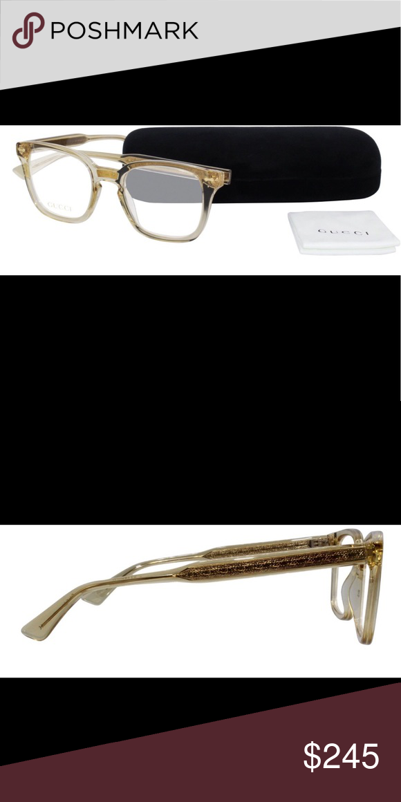 7bf8cd017c5 New Gucci Unisex Frames 2018 -Gucci GG-0184-O-004 Clear complexion acetate  frame with gold detailing Dimensions  Total Width  132 mm   Lens Width  50  mm ...