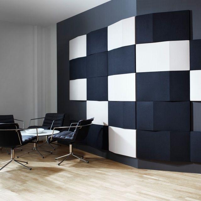 Wohnideen Wände Gestalten wandgestaltung zur schalldämpfung wandpaneele quadrate schwarz weiß