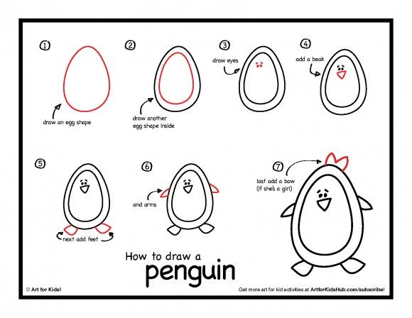 How To Draw A Penguin - Art For Kids Hub - | Penguins, Activities ...