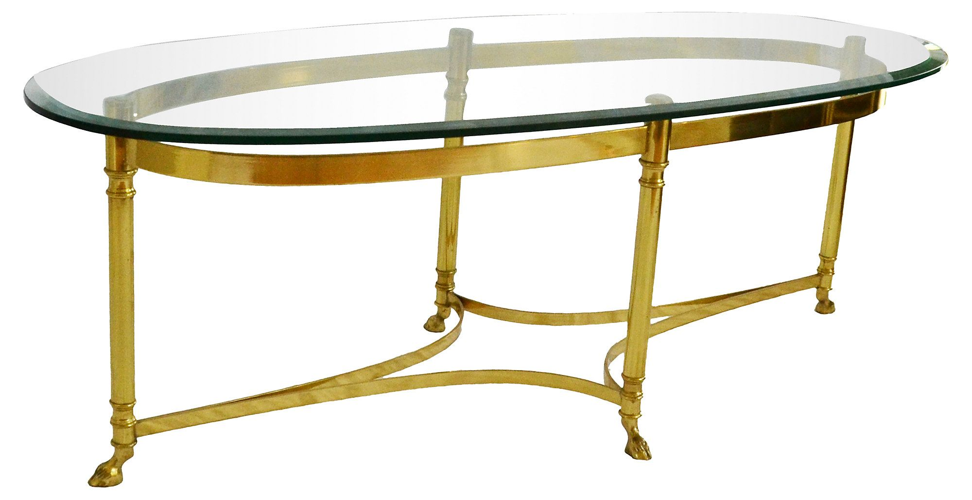 Labarge Oval Brass Cocktail Table With Dramatic Hoof Feet And A