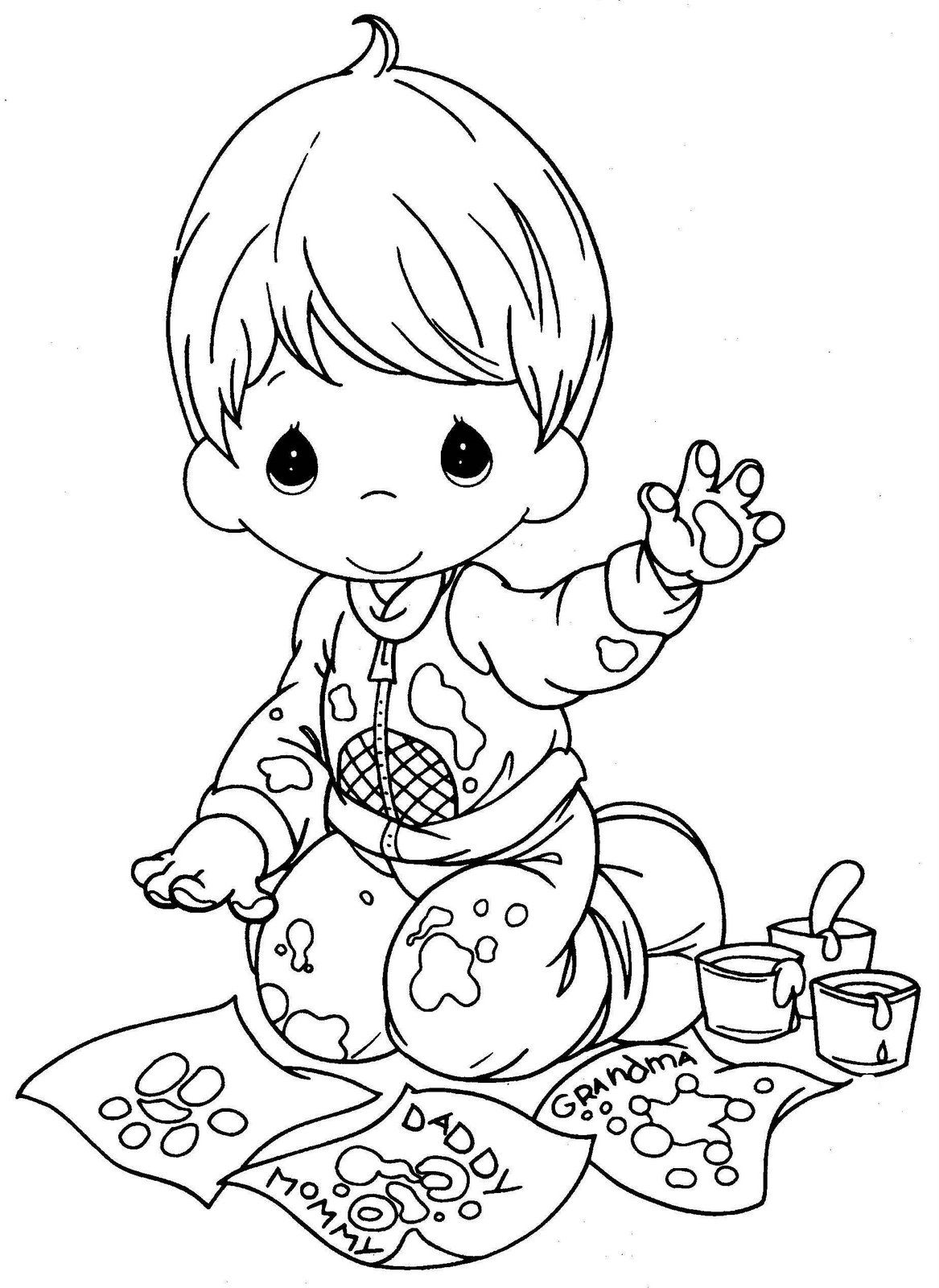 Cute child finger painting precious moments coloring pages