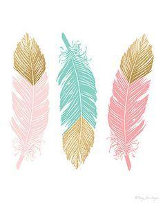 Feather Art Nursery Decor, Home Decor Wall Art Printable Digital Pink Mint Gold Glitter, Tribal Nursery Baby Shower Gift, Kids Room Decor #nurseryideas