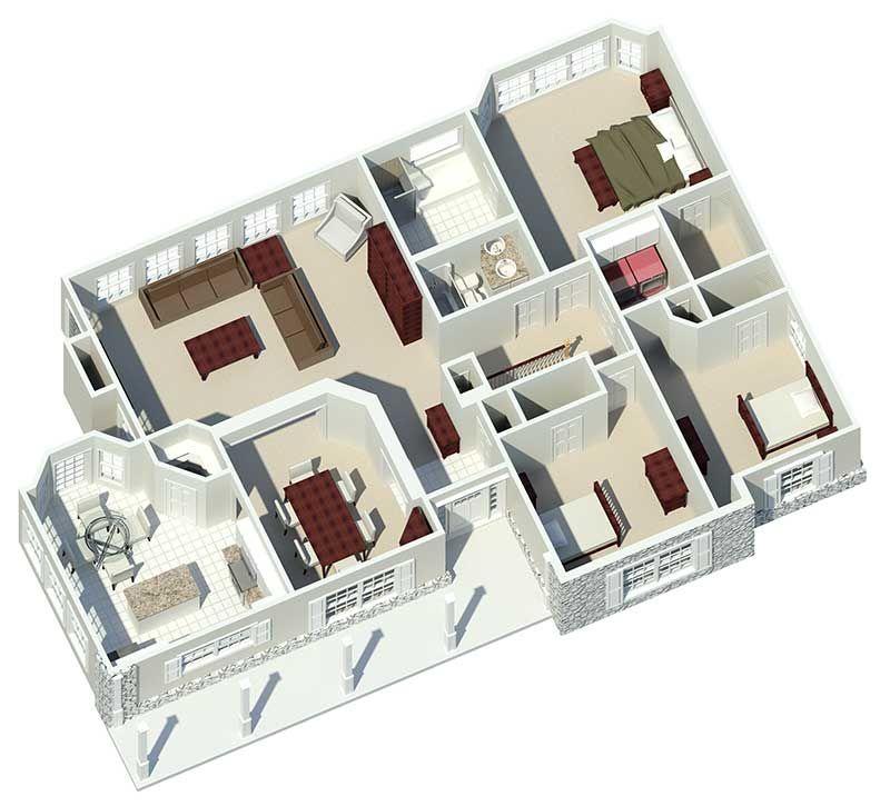 Ranch House Plan 3D First Floor 007D-0085 From