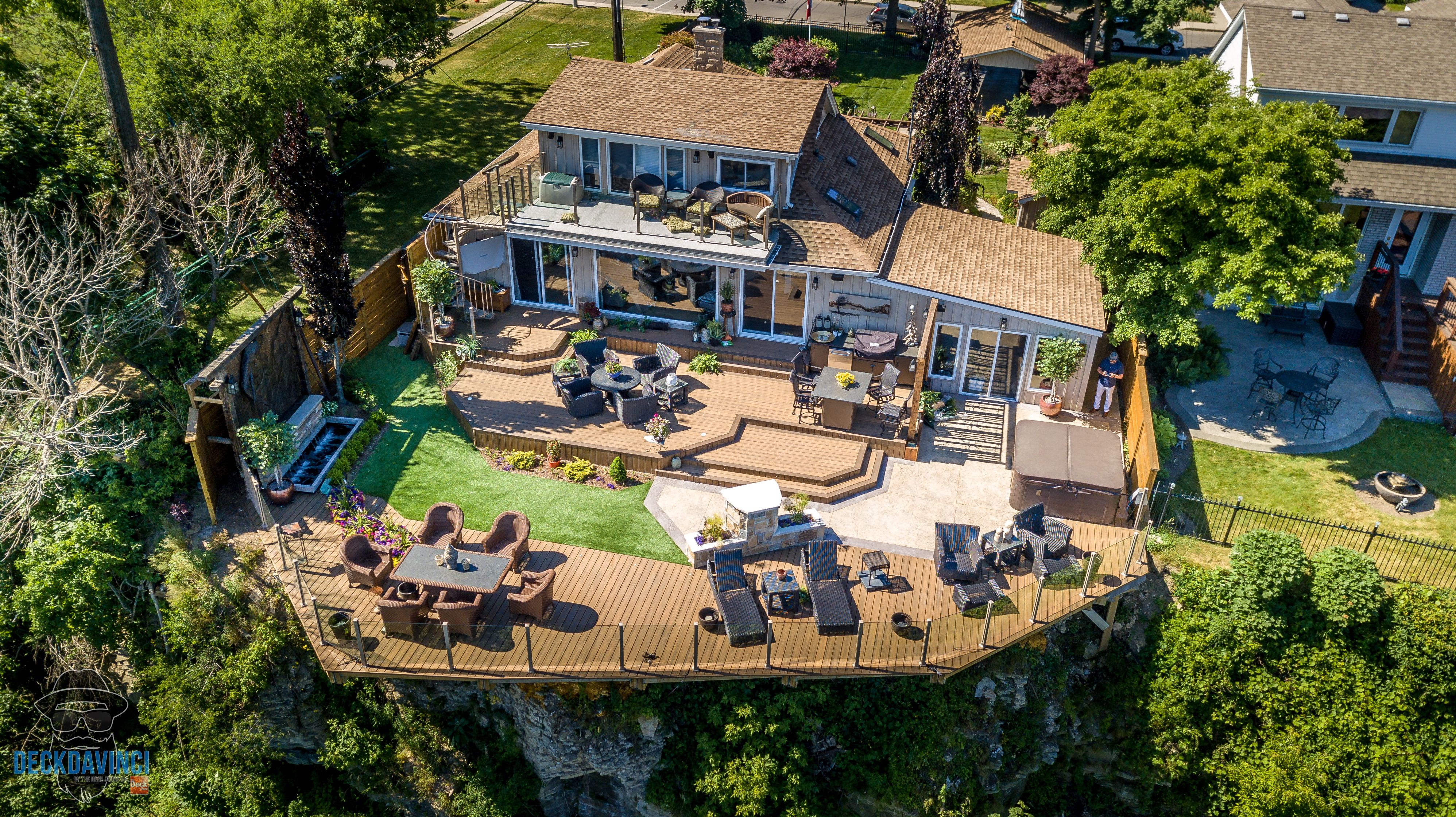 Composite Deck Over A Cliff With A 15 Cantilever Designed By Robert Hodichak The Deckdavinci Deck Over House Styles Deck
