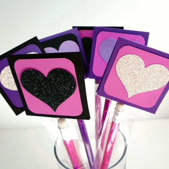 Valentine Pencil Party Favors - Personalized School Valentines - Pencil Valentines - Purple Valentine's Day Pencil - Kids Valentines Cards