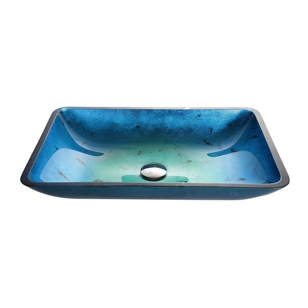 KRAUS Irruption Rectangular Glass Vessel Sink in Blue, Multicolor ...
