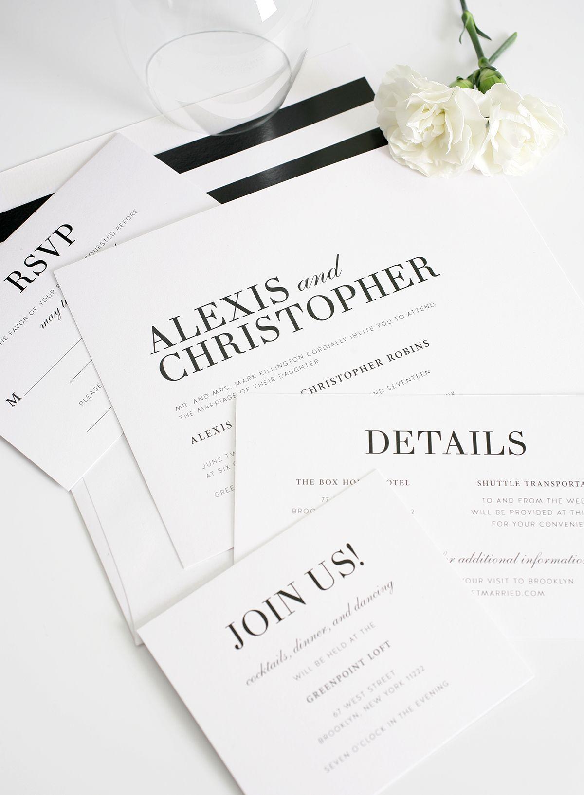 Glamorous Black and White Wedding Invitations | Pinterest | Wedding ...